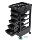 Black 5 Drawers Beauty Salon Spa Styling Station Trolley Equipment Rolling Storage Tray Cart
