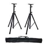 Pair Heavy Duty Tripod DJ PA Speaker Stands Black Packed w/ Carrying Bag