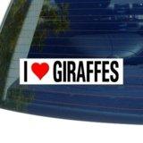 I Love Heart GIRAFFES - Window Bumper Sticker