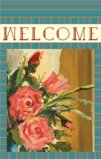 welcome Flag With Retro Style Rose Flowers Garden Flag Decorative Flag - 28