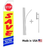 Stop Save Here Econo Flag | 16ft Aluminum Advertising Swooper Flag Kit with Hardware