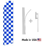 Blue and White Checkered Econo Flag | 16ft Aluminum Advertising Swooper Flag Kit with Hardware