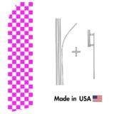 Magenta and White Checkered Econo Flag | 16ft Aluminum Advertising Swooper Flag Kit with Hardware