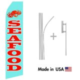 Seafood Econo Flag | 16ft Aluminum Advertising Swooper Flag Kit with Hardware