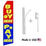 Buy Here Pay Here Econo Flag | 16ft Aluminum Advertising Swooper Flag Kit with Hardware