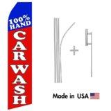 100% Hand Car Wash Econo Flag | 16ft Aluminum Advertising Swooper Flag Kit with Hardware