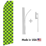 Green and Black Checkered Econo Flag | 16ft Aluminum Advertising Swooper Flag Kit with Hardware