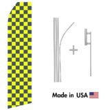 Yellow and Black Checkered Econo Flag | 16ft Aluminum Advertising Swooper Flag Kit with Hardware