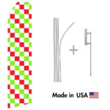 Red, Green, and White Checkered Econo Flag | 16ft Aluminum Advertising Swooper Flag Kit with Hardware