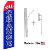 Oil Change Econo Flag   16ft Aluminum Advertising Swooper Flag Kit with Hardware