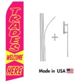 Trades Welcome Here Econo Flag | 16ft Aluminum Advertising Swooper Flag Kit with Hardware