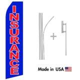 Blue Insurance Econo Flag | 16ft Aluminum Advertising Swooper Flag Kit with Hardware