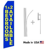Blue 1 & 2 Bedrooms Available Econo Flag | 16ft Aluminum Advertising Swooper Flag Kit with Hardware