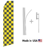Black and Yellowed Checkered Econo Flag | 16ft Aluminum Advertising Swooper Flag Kit with Hardware