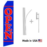 Blue Open Econo Flag | 16ft Aluminum Advertising Swooper Flag Kit with Hardware