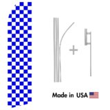 Purple and White Checkered Econo Flag | 16ft Aluminum Advertising Swooper Flag Kit with Hardware