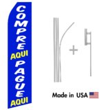 Compre Aqui and Pague Aqui Econo Flag | 16ft Aluminum Advertising Swooper Flag Kit with Hardware