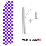 Purple Checkered Econo Flag | 16ft Aluminum Advertising Swooper Flag Kit with Hardware