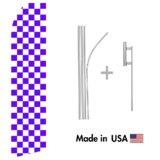 Purple Checkered Econo Flag | 16ft Aluminum Advertising Swooper Flag Kit with Hardware