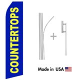 Countertops Econo Flag | 16ft Aluminum Advertising Swooper Flag Kit with Hardware