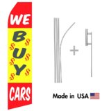 We Buy Cars Econo Flag | 16ft Aluminum Advertising Swooper Flag Kit with Hardware