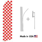 Grey and Red Checkered Econo Flag | 16ft Aluminum Advertising Swooper Flag Kit with Hardware