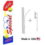 Look Here Special Econo Flag | 16ft Aluminum Advertising Swooper Flag Kit with Hardware