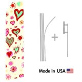 Heart Design Econo Flag | 16ft Aluminum Advertising Swooper Flag Kit with Hardware