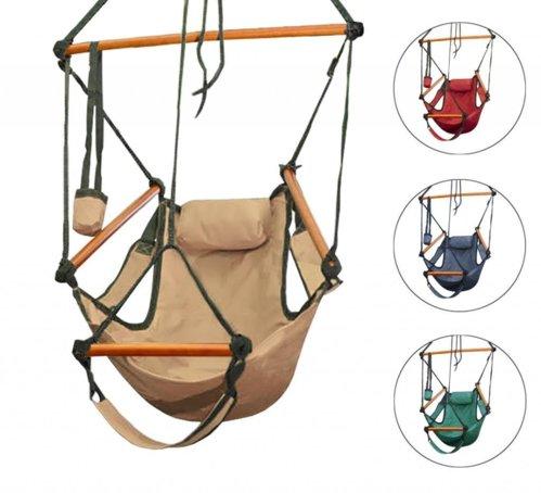 New Deluxe Air Chair Swing Hanging Hammock Chair W/ Pillow U0026 Drink Holder |  BestDealDepot