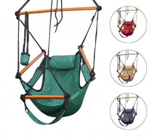 Merveilleux New Deluxe Air Chair Swing Hanging Hammock Chair W/ Pillow U0026 Drink Holder |  BestDealDepot