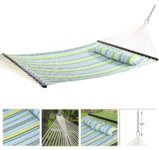 Best Deal Depot Hammock Quilted Fabric with Pillow Spreader Bar Heavy Duty New Blue/Green
